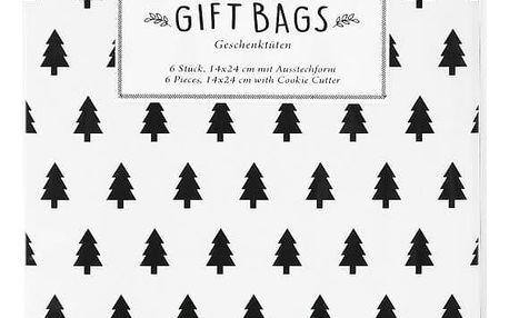 TAFELGUT Dárkové papírové sáčky Tree + vykrajovátko, černá barva, bílá barva, papír