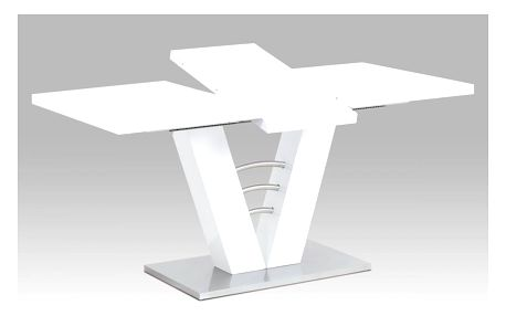 Rozkládací jídelní stůl HT-510 WT bílý lesk / broušený nerez Autronic