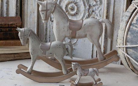 Chic Antique Dekorativní houpací koník Antique, béžová barva, dřevo