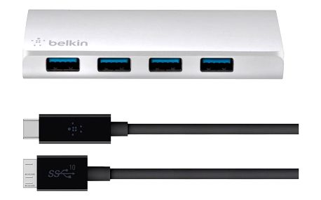 Belkin USB 3.0 4 Port Hub + USB-C Cable - F4U088vf