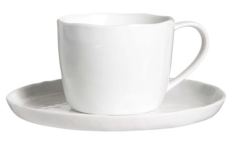 IB LAURSEN Porcelánový šálek s podšálkem Delicate White, bílá barva, porcelán