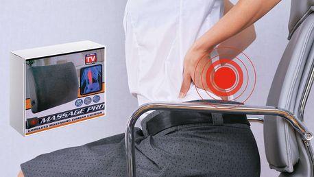 Masážní bederní opěrka do auta i k televizi, dvě masážní rychlosti