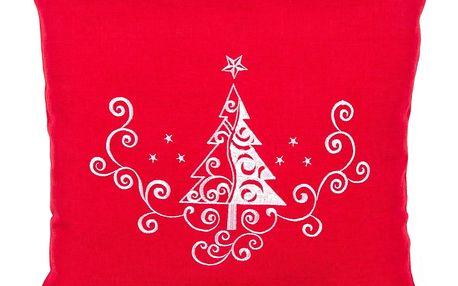 BO-MA Trading Povlak na polštářek Vánoční stromek Ornament červená, 40 x 40 cm
