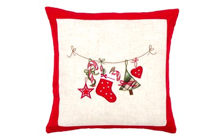 BO-MA Trading Vánoční povlak na polštářek Punčocha, 40 x 40 cm