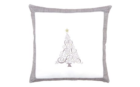 BO-MA Trading Povlak na polštářek Vánoční stromek Ornament šedá, 40 x 40 cm