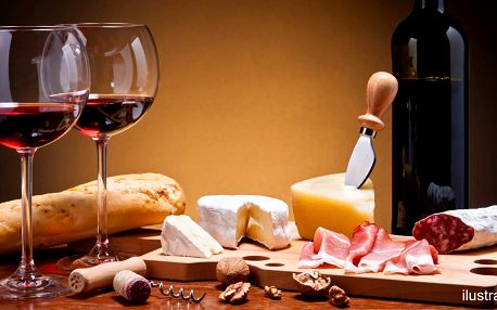 Balíček s lahví Beaujolais a vybranými lahůdkami