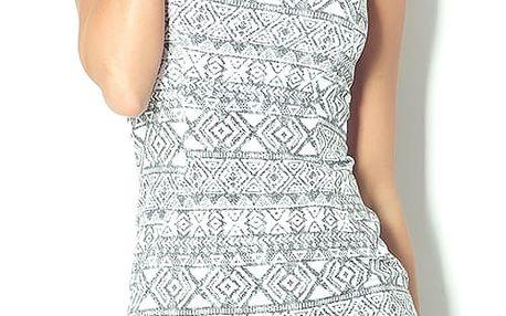 Okrové vypasované šaty s etno vzory 53-15 Varianta: S