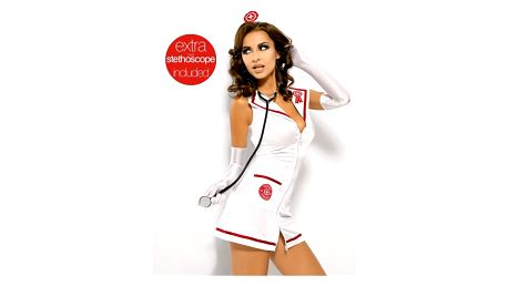 Sexy kostým Emergency dress + stetoskop - Obsessive Barva: bílá, Velikost: S/M
