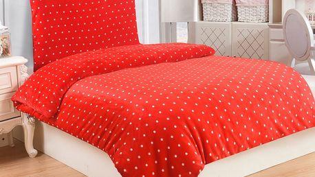 Jahu Povlečeni mikroplyš Polka červená, 140 x 200 cm, 70 x 90 cm