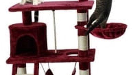 Škrabadlo pro kočky Hawaj, 140x65x40 cm, barva vínová