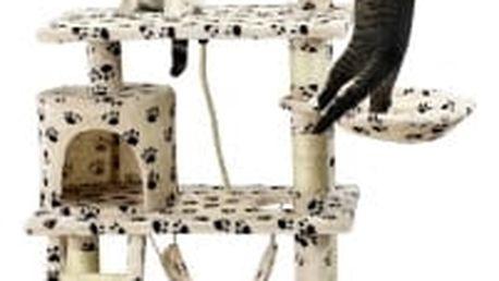 Škrabadlo pro kočky Hawaj, 140x65x40 cm, s tlapkovým vzorem
