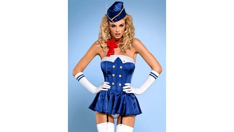 Sexy kostým Stewardess corset - Obsessive Barva: modrá, Velikost: S/M