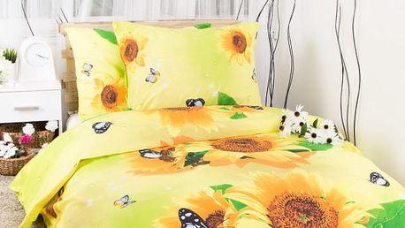 Hermann cotton Francouzské bavlněné povlečení SLUNEČNICE - žlutá 200x220, 70x90