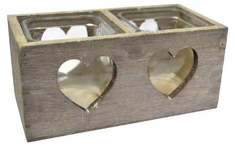 Romantický dřevěný svícen na dvě čajové svíčky! - VÝPRODEJ