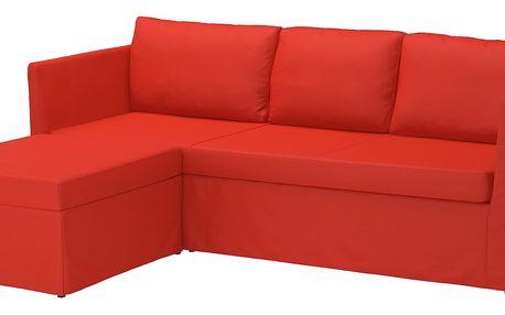 Rohová rozkládací pohovka BRÅTHULT Vissle červená/oranžová
