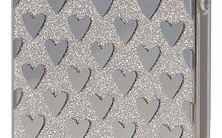 EPICO pružný plastový kryt pro iPhone 5/5S/SE SILVER HEARTS - 1110102100020