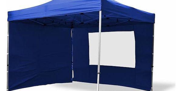Garthen PROFI 6377 Zahradní párty stan nůžkový 3x3 m modrý + 4 boční stěny