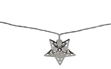 Světelný LED řetěz s 10 hvězdami, stříbrná
