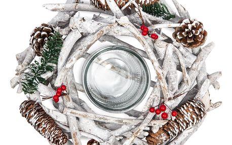 HTH Dekorativní zasněžený věnec se šiškami, pr. 30 cm