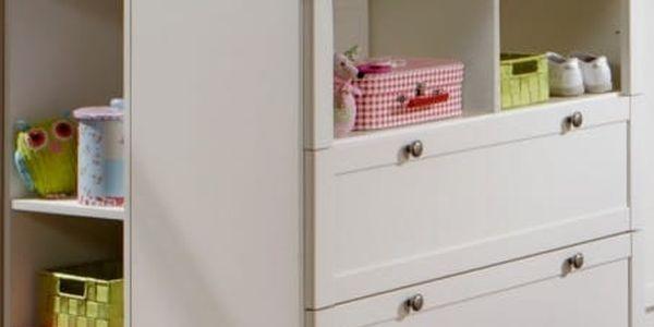 Filou - Přebalovací pult zásuvkový, boční regál (alpská bílá)
