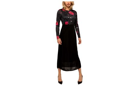 Culito from Spain černé dlouhé šaty Red Flowers