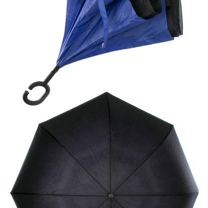 Obrácený holový deštník s dvojitým potahem v modré barvě
