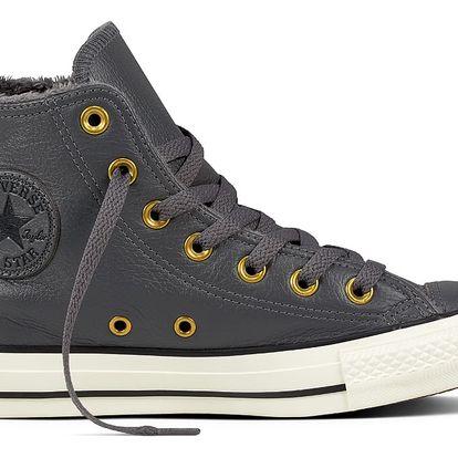 Converse šedé kožené tenisky s kožíškem Chuck Taylor All Star Ctas Hi Thunder