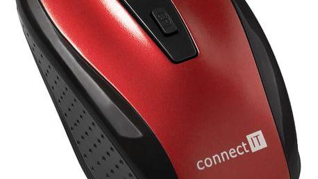 Myš Connect IT CI-1224 (CI-1224) červená / optická / 4 tlačítka / 1600dpi
