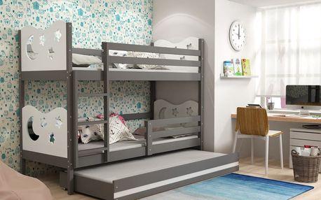 Patrová postel s přistýlkou MIKO 3 80x190 cm, grafitová/bílá Pěnová matrace