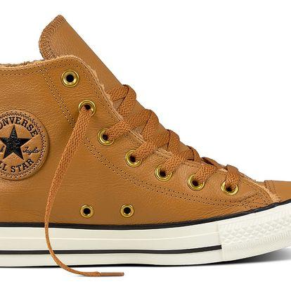Converse karamelové kožené tenisky s kožíškem Chuck Taylor All Star Ctas Hi Chipmunk