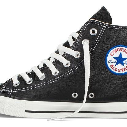 Converse černé kožené dámské tenisky Chuck Taylor All Star Hi Black