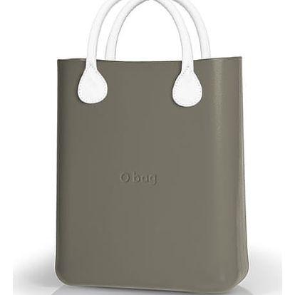 O bag kabelka O chic Rock šedá s bílými koženkovými držadly