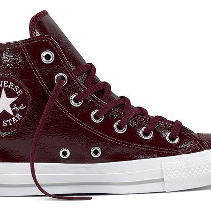 Converse vínové lesklé kožené boty CTAS Hi Dark Sangria