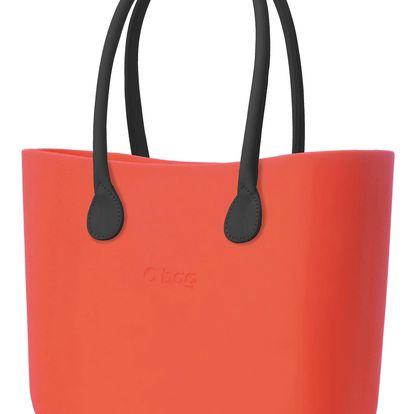 O bag kabelka papaya s černým koženkovým držadlem