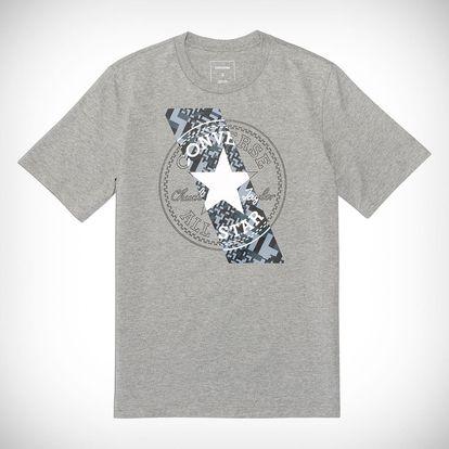 Converse šedé pánské tričko Chuckpatch Contrast Slash Tee