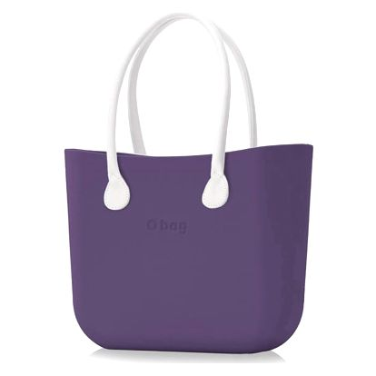Obag kabelka Lila s bílými koženkovými držadly