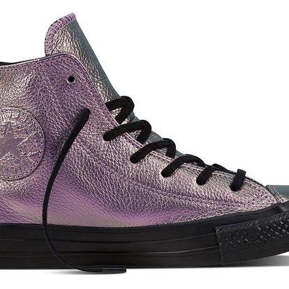 Converse metalické kožené tenisky Chuck Taylor Ctas Hi Violet/Black