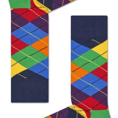 Happy Socks pestrobarevné pánské ponožky s károvaným vzorem Argyle