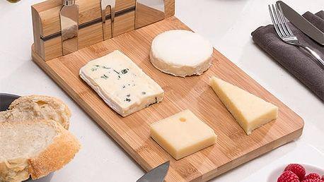 Bambusové Prkénko na Sýr se Sadou Nožů 5 kusů