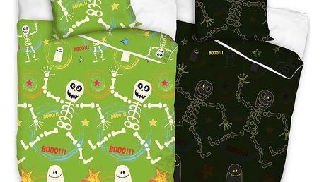 Tip Trade dětské bavlněné svíticí povlečení Kostry , 140 x 200 cm, 70 x 80 cm