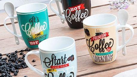Retro Hrníčky se Lžičkou Coffee 4 kusy