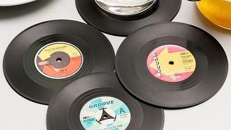 Retro Podložky pod Hrnky Vinylová Deska 4 kusy