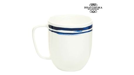 Cup Porcelán Pruhy Blue - Kitchens Deco Kolekce by Bravissima Kitchen