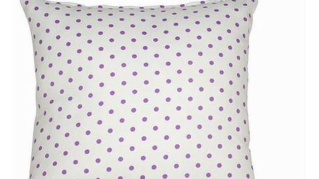 Přírodní polštářek s purporými puntíky - Little Gala Kolekce by Loom In Bloom