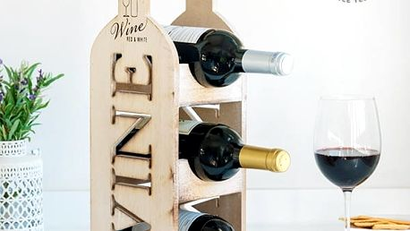 Dřevěný Stojan na Víno v Retro Stylu