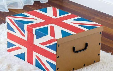 Úložný Kartonový Box s Víkem a Uchy Vlajka Oh My Home