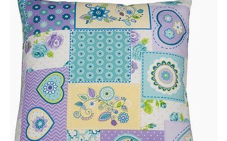 Polštářek patchwork s fialovým srdcem by Loom In Bloom