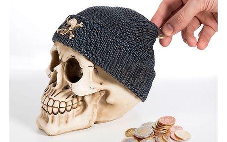 Pokladnička Lebka s Pirátským Kloboukem