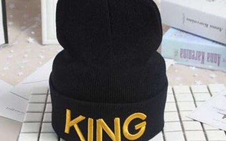 Zimní čepice s nápisem KING nebo QUEEN - 2 barvy