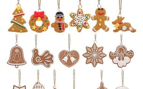 Vánoční ozdoby v podobě perníčků - 17 kusů